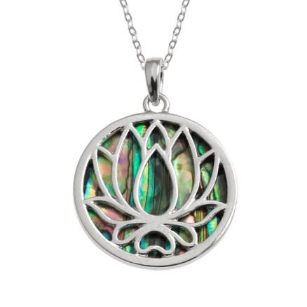 Tide Jewellery inlaid Paua shell Waterlily/Lotus flower pendant with Paua shell on the reverse side, on 18″ trace chain. Comes in Tide Jewellery presentation box
