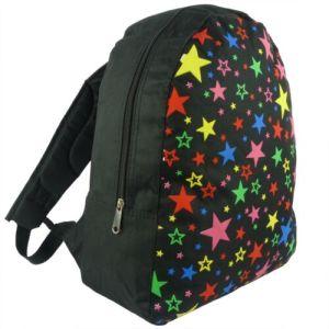 Black Multi Colour Stars Backpack Rucksack School Bag Travel New