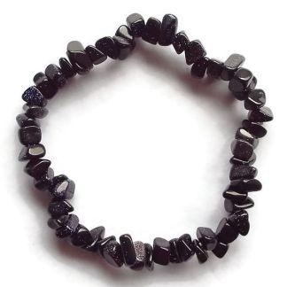 Blue Goldstone Gemstone Chip Bracelet