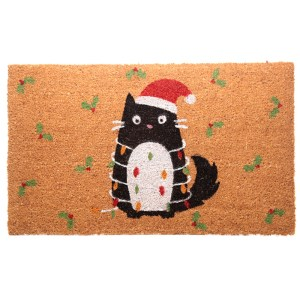 Coir Door Mat - Festive Feline Cat Design
