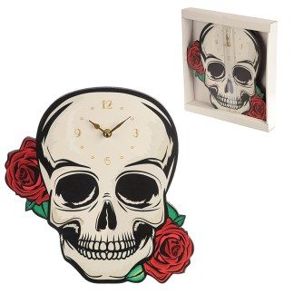 Decorative Fantasy Skull with Red Roses Shaped Wall Clock