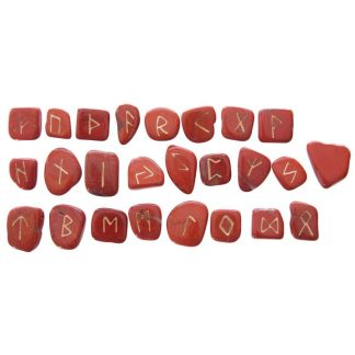 Bag of 24 Carnelian Rune Stones In Black Pouch
