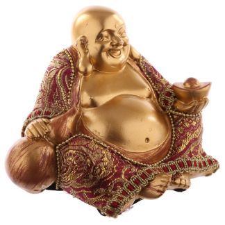 Chinese Lucky Resin Buddha Red and Gold Effect