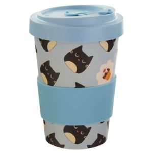 Feline Cat Reusable Screw Top Bamboo Travel Mug