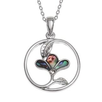 Tide Jewellery inlaid Paua shell circled three petal flower pendant
