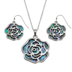 """Tide Jewellery inlaid Paua shell rose pendant with Paua shell on the reverse, on 18"""" trace chain and matching hook earring set"""