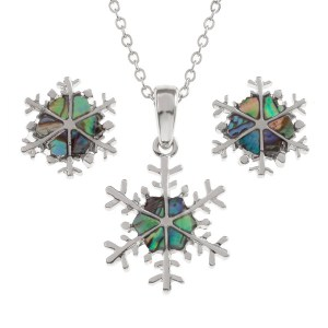 """Tide Jewellery inlaid Paua shell snowflake pendant on 18"""" trace chain and matching stud earring set"""