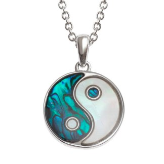 """Tide Jewellery inlaid blue Pauashell & Mother of Pearl shell Yin Yangpendant, on 18"""" tracechain."""