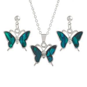 """Tide Jewellery inlaid blue Paua shell butterfly pendant on 18"""" trace chain and matching drop stud earring set"""