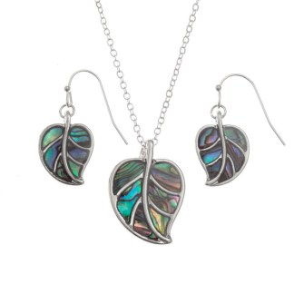 """Inlaid Paua shell leaf pendant on 18"""" trace chain and matching hook earring set"""