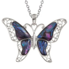 "Tide Jewellery inlaid purple Paua shell butterfly pendant on 18"" trace chain"