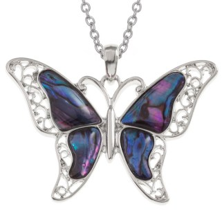 "Tide Jewellery inlaid purple Paua shell butterflypendanton 18"" tracechain"