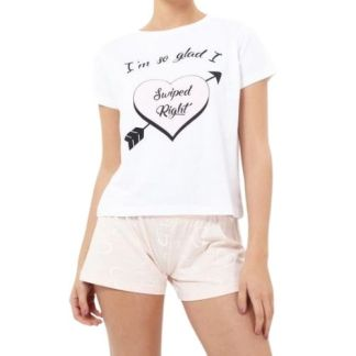 Swiped Right Slogan Printed Pyjama Set
