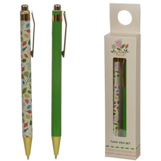 Twin 2 Pen Boxed Gift Set - Autumn Falls Floral - Black Biro Ballpoint