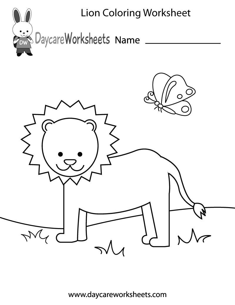 Free Preschool Lion Coloring Worksheet | coloring worksheets for preschoolers