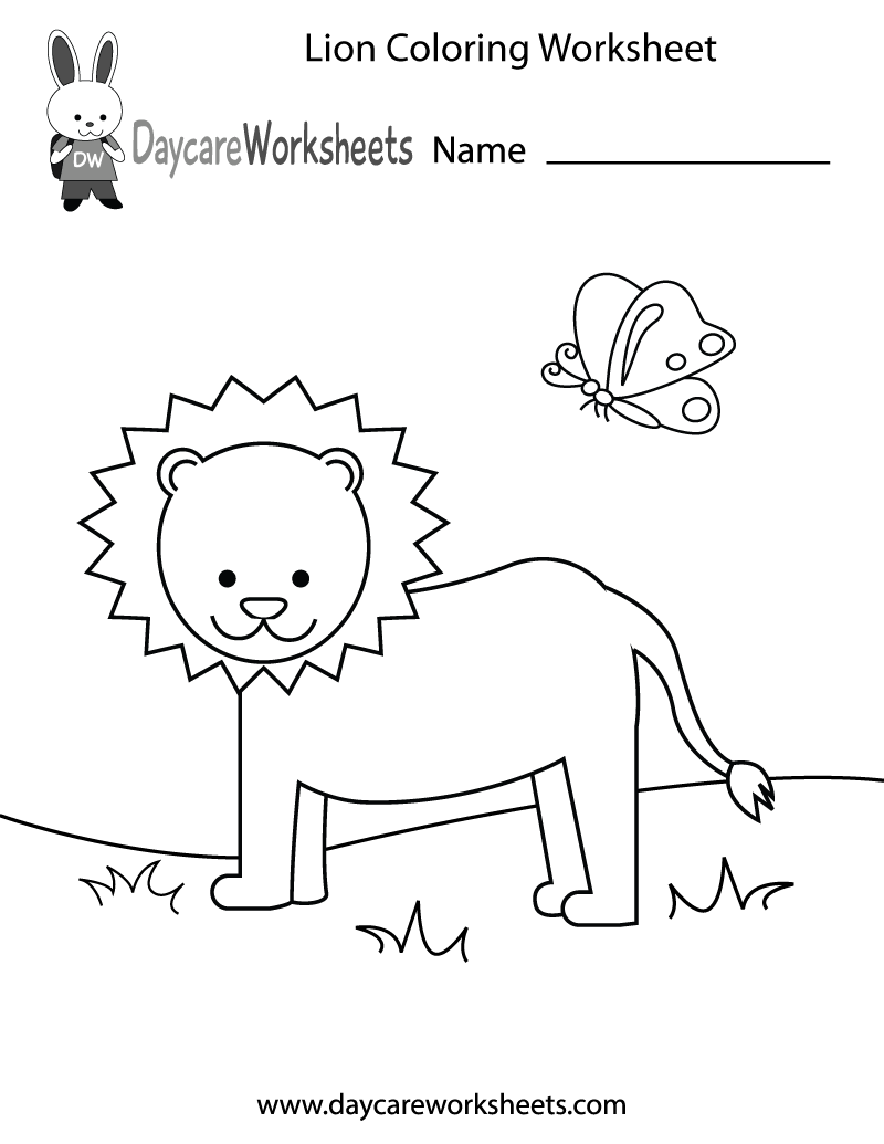 Free Preschool Lion Coloring Worksheet | colouring worksheets for preschoolers