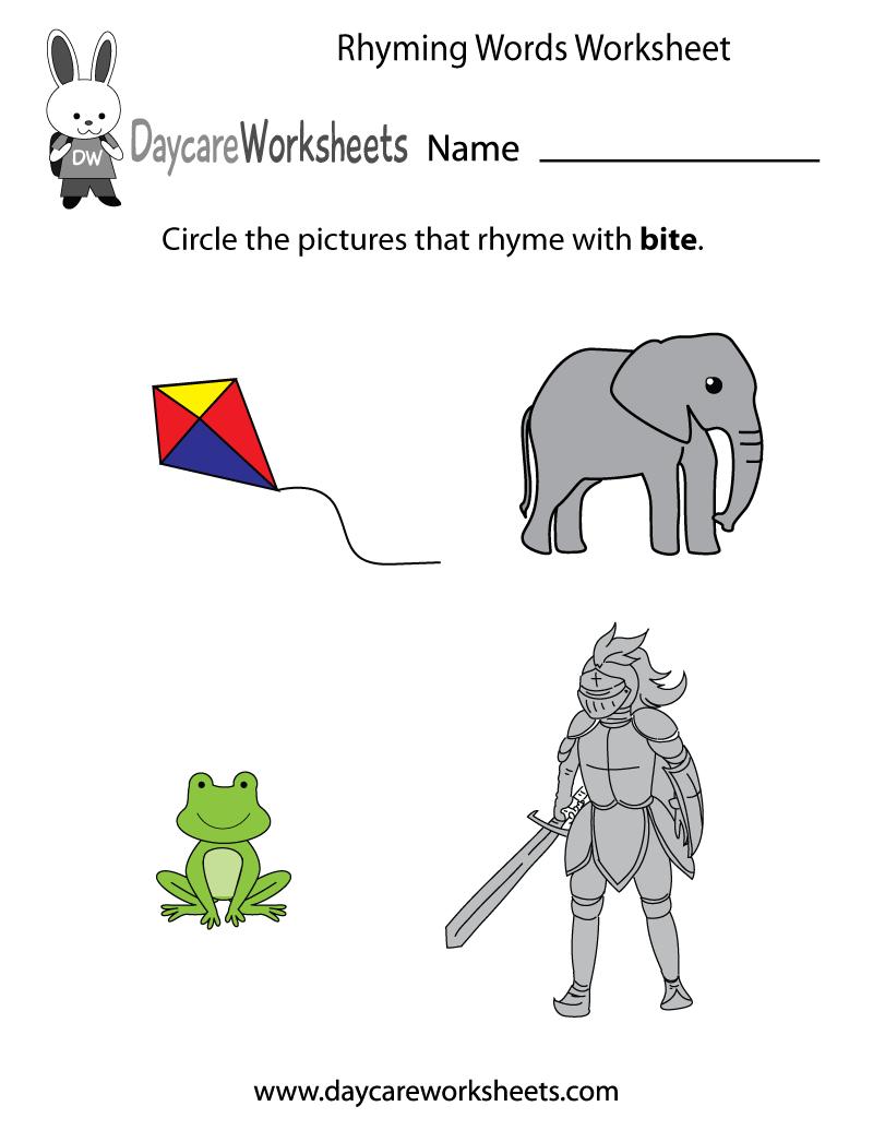 Free Rhyming Words Worksheet For Preschool