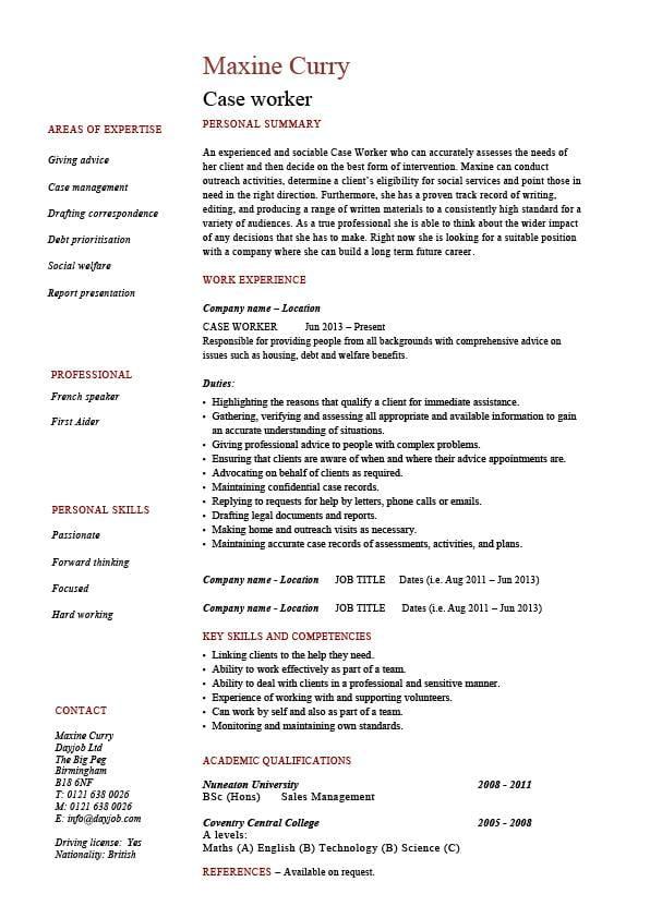 Case Worker Resume Social Sample Example Templates Job Description Clinic Healthcare