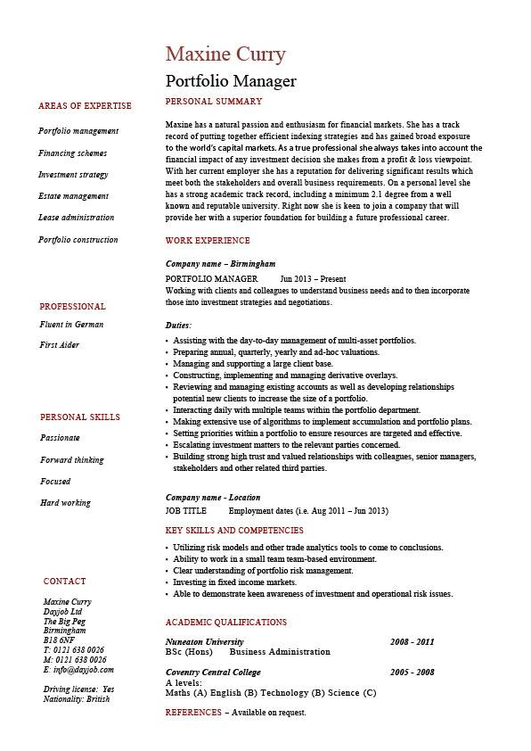 Portfolio Manager Resume Investments CV Job Description Example Sample Funds
