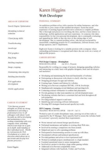 Web Developer Resume Example Cv