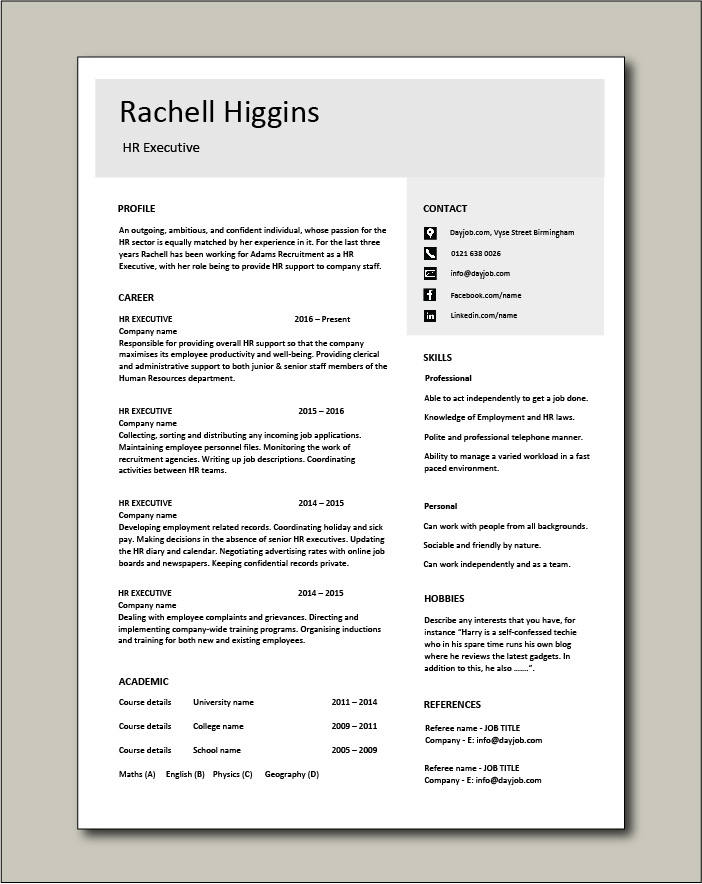 Browse resume examples for human resources jobs. Free Hr Executive Cv Template 4