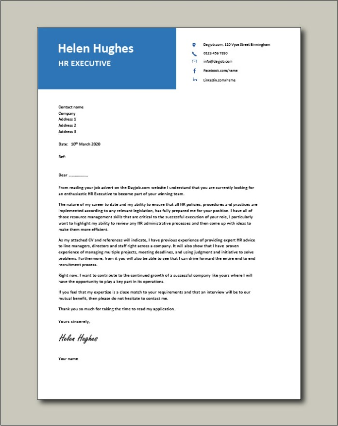 Hr Executive Cover Letter 1 Sample Human Resources Recruitment Agencies Online Jobs