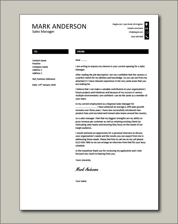 Sales Manager Cover Letter Example Sales Growth Cv Job Application Resume