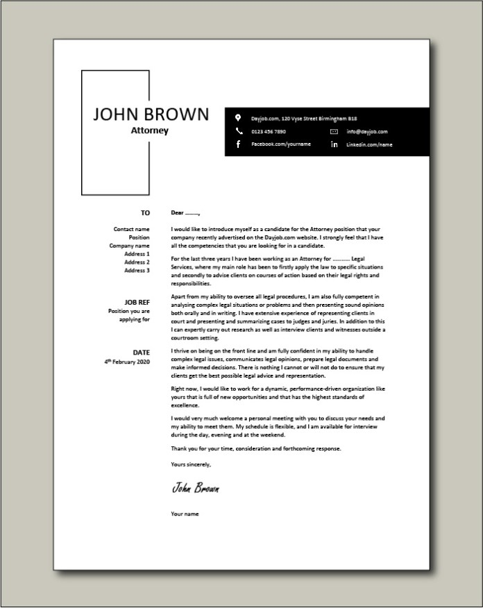 Attorney Cover Letter Sample Example Legal Work History Academic Cv
