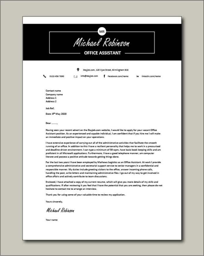 Office Assistant Cover Letter Example Secretary Job Description Filing Template Resume Admin