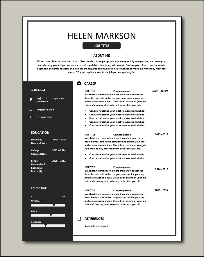 Microsoft offers a wide variety of word templates for free and premium word templates for subscribers of microsoft 365. Free Resume Template 4