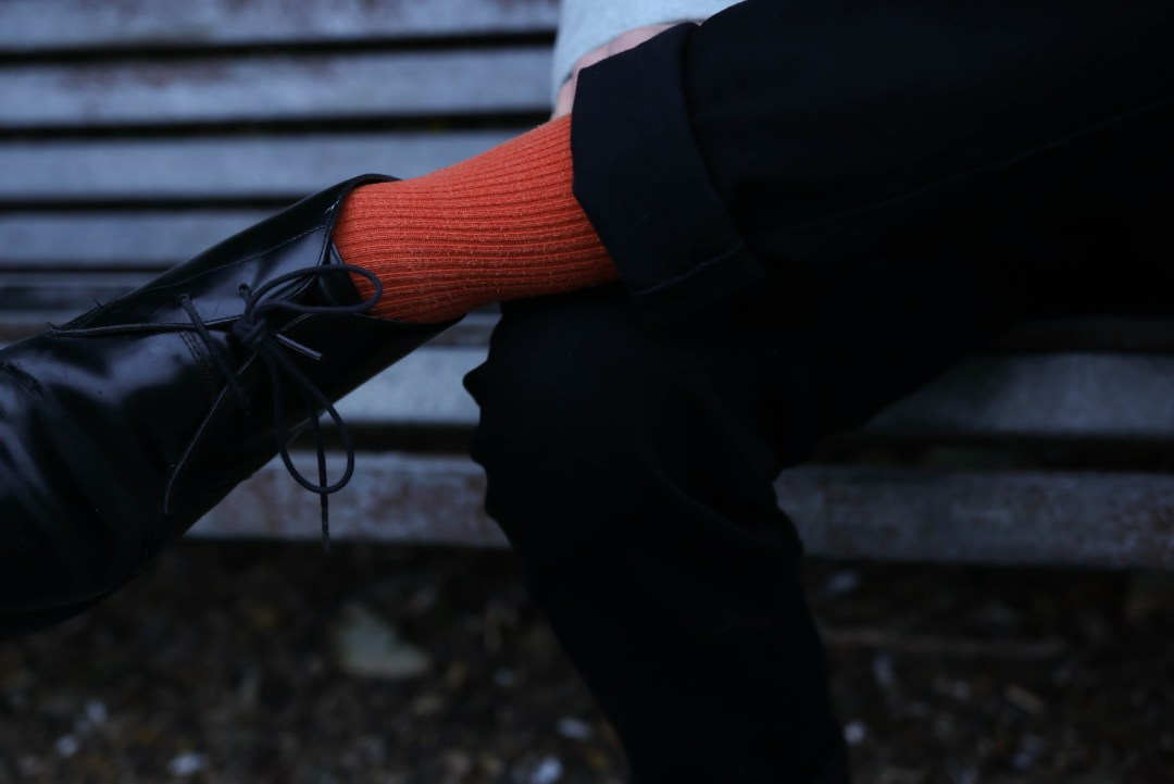 Grey Jacket - Orange Socks