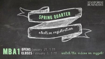 Spring Quarter Elective Registration flyer/TV screen for MBA1