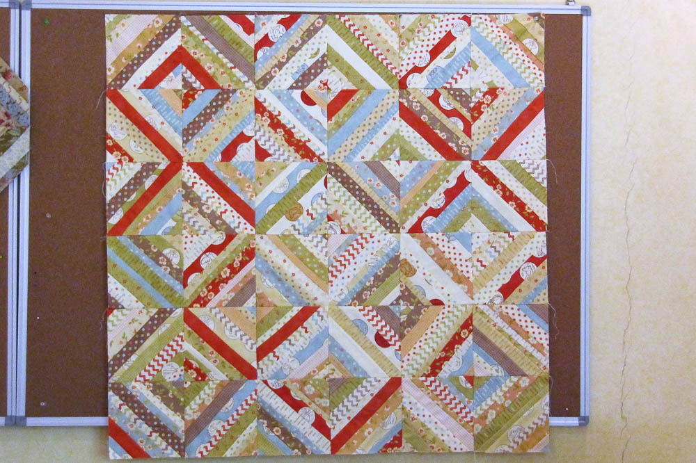 Strings quilt made with a honey bun