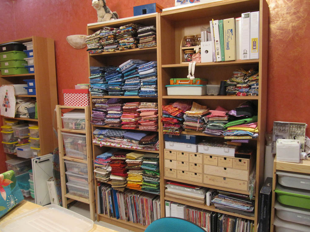 Sewing room tour - love my Ikea bookshelves for fabric and notions