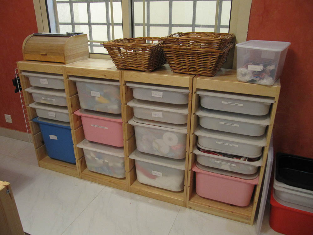 Sewing room tour - love my Ikea shelves with tubs for all my sewing and quilting projects