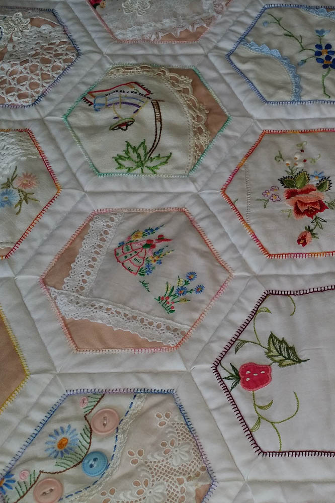 Embellished Hexagons made with lace, doilies and hankies.