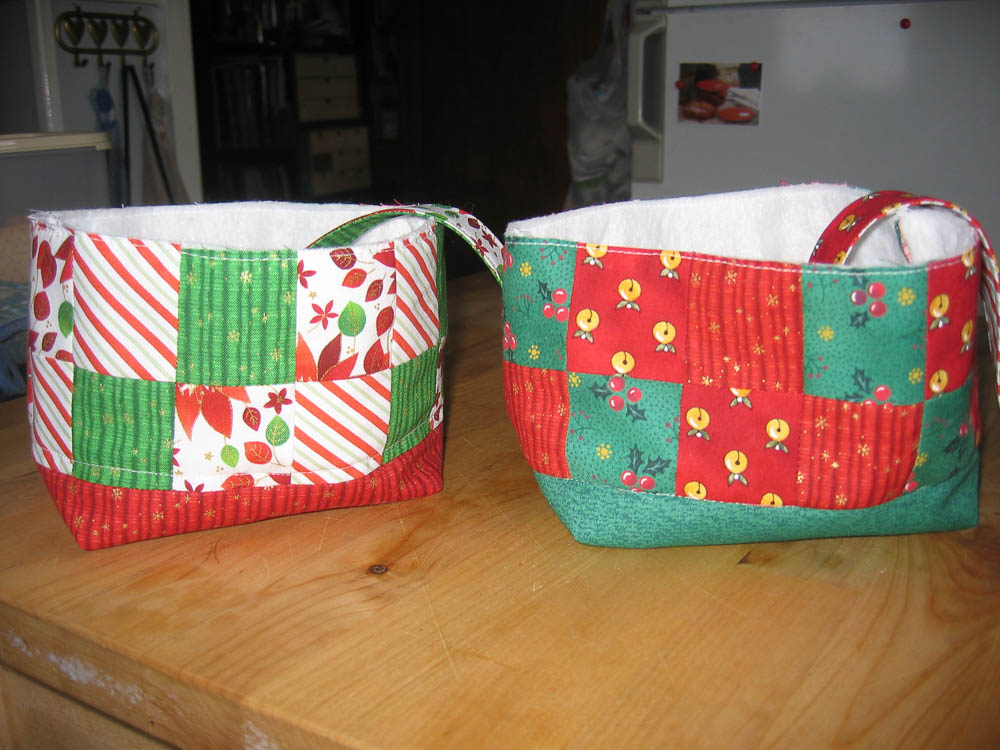 Fabric baskets made with Pink Penguins tutorial. Great gift to make for friends and family at Christmas or other special occasions!