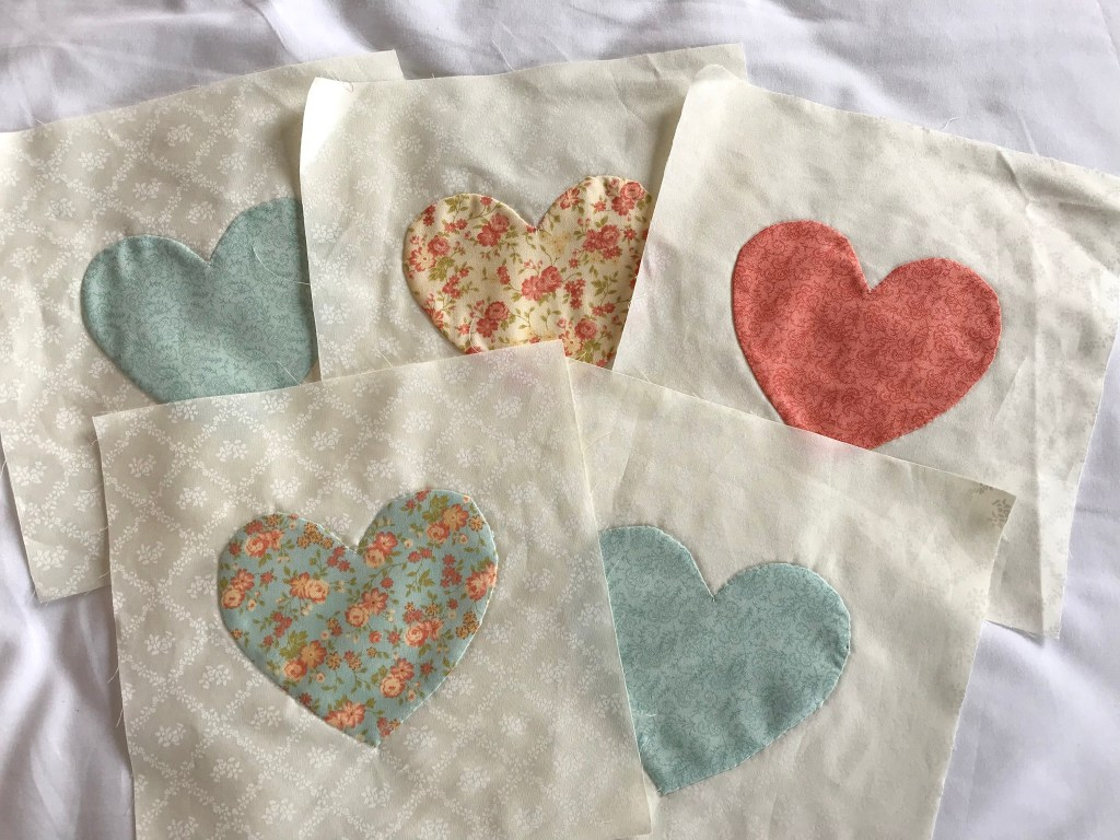 Embroidered mermaids mini quilts and applique hearts .. days