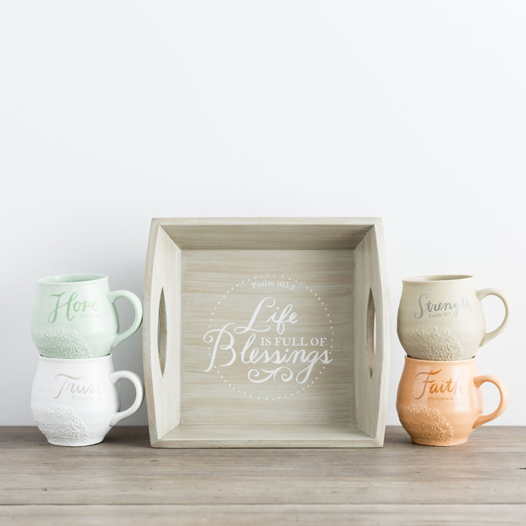 Trust, Strength, Faith, Hope - Stoneware Mugs and Wooden Tray Set