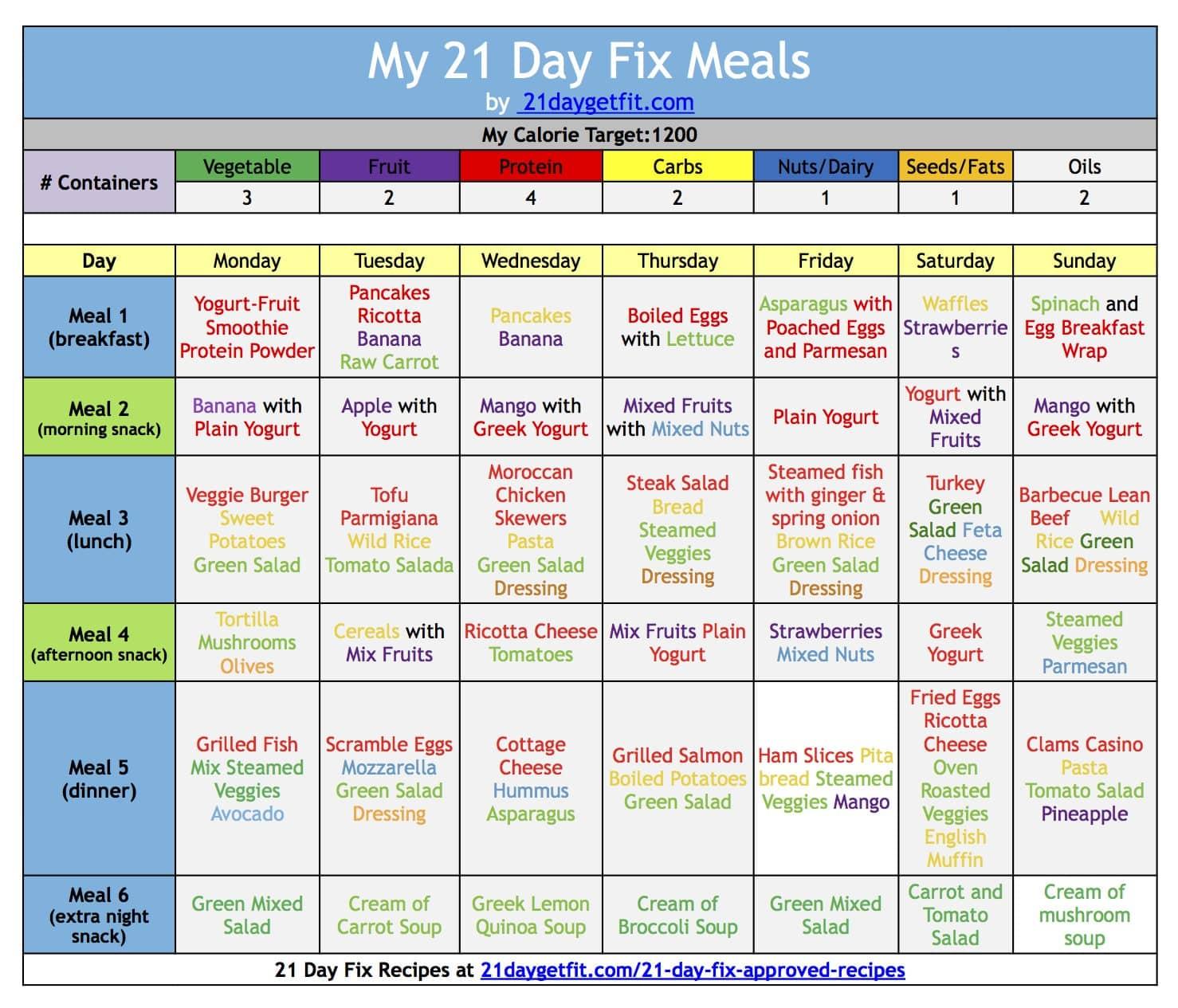 21 Day Fix Extreme Calendar Printable