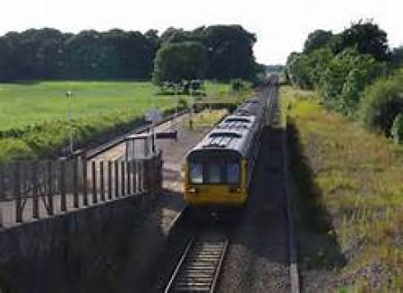 The Blackpool-South train at Salwick. Those are my sheep on the left.