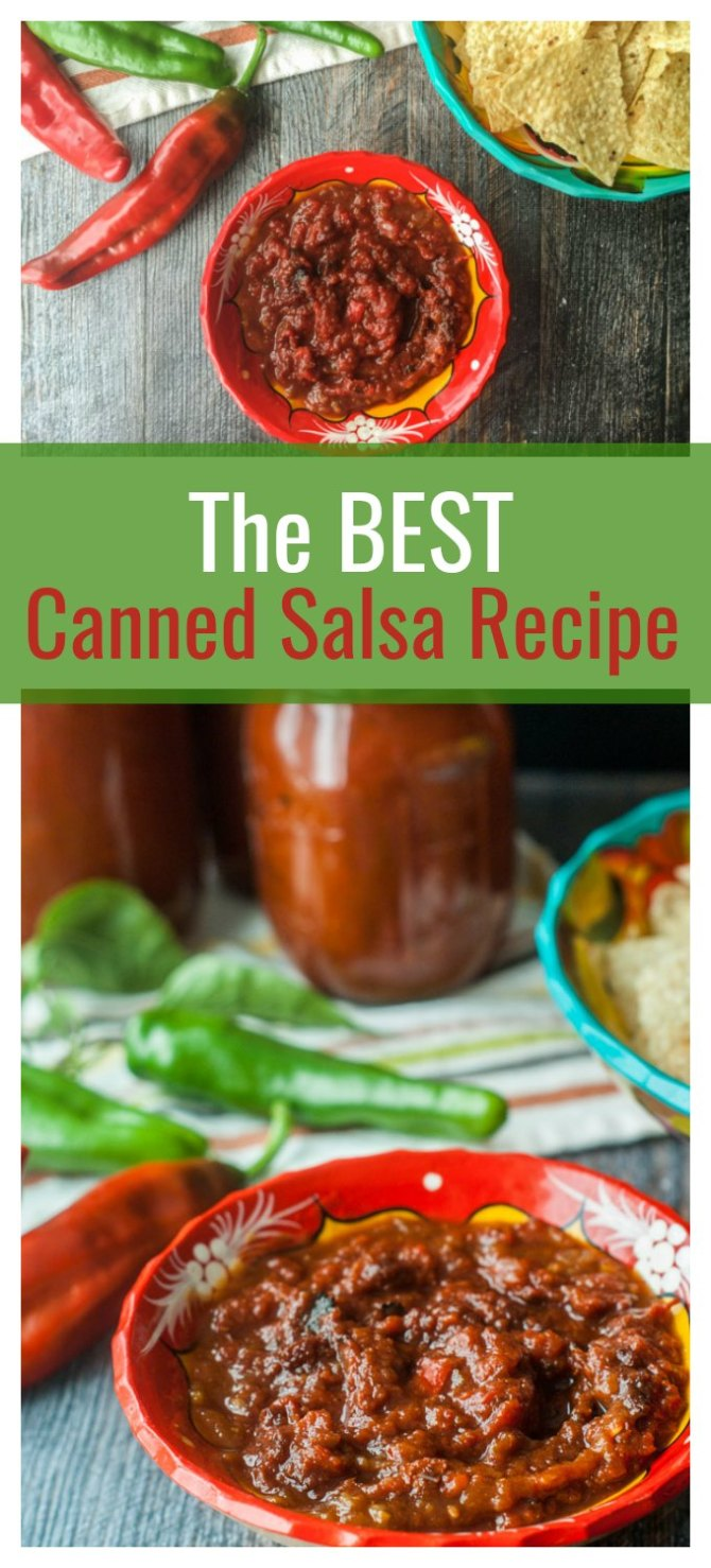 Enjoy the taste of fresh tomatoes all year round with my best canned salsa recipe. Can use fresh tomato or canned tomatoes in this salsa recipe.