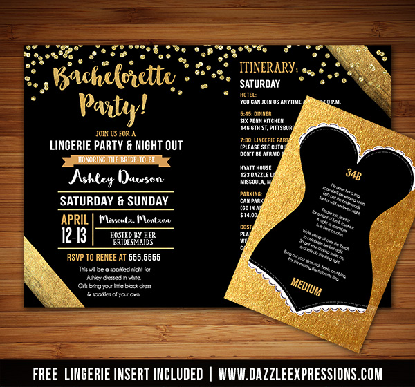 Printable Gold Bachelorette Party Itinerary Invitation