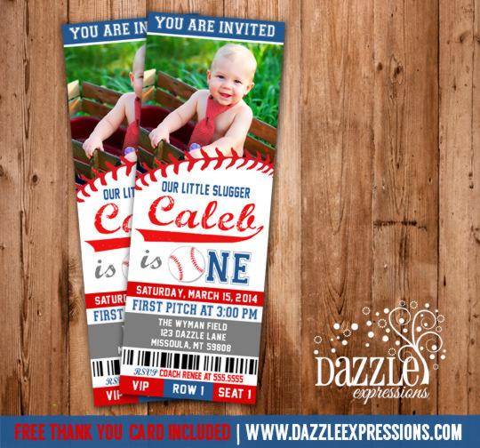 Printable Baseball Ticket Birthday Photo Invitation Boys