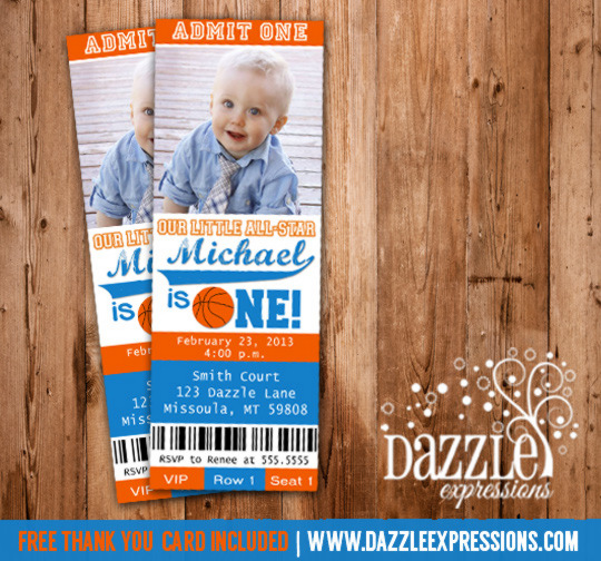 Printable Basketball Ticket Birthday Photo Invitation
