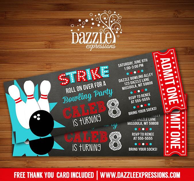 Printable Chalkboard Bowling Ticket Birthday Invitation
