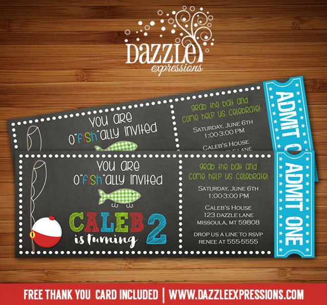 Printable Chalkboard Fishing Ticket Birthday Invitation