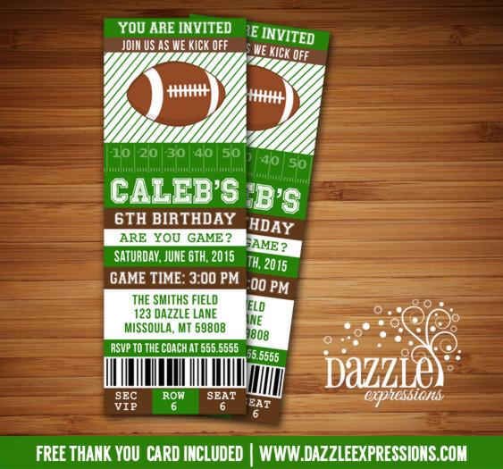 Printable Football Ticket Birthday Invitation Super Bowl
