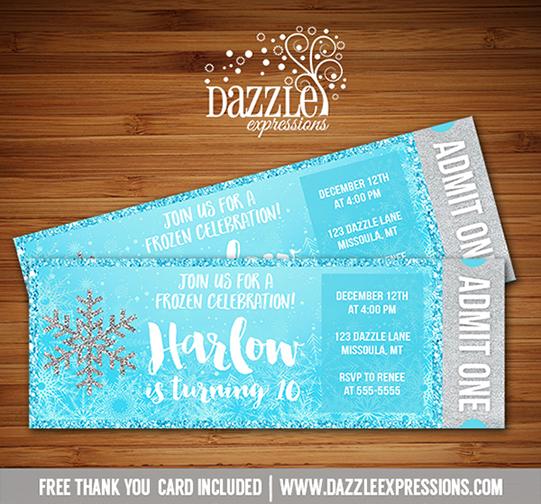 Printable Glitter Snowflake Frozen Ticket Birthday
