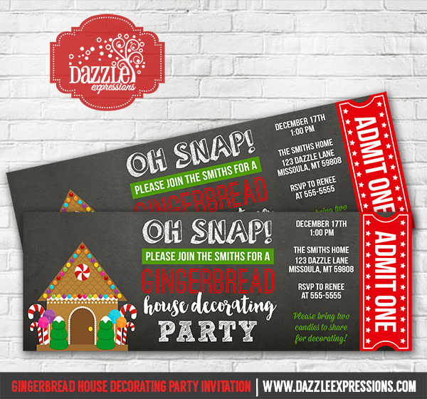 Printable Gingerbread House Decorating Party Ticket